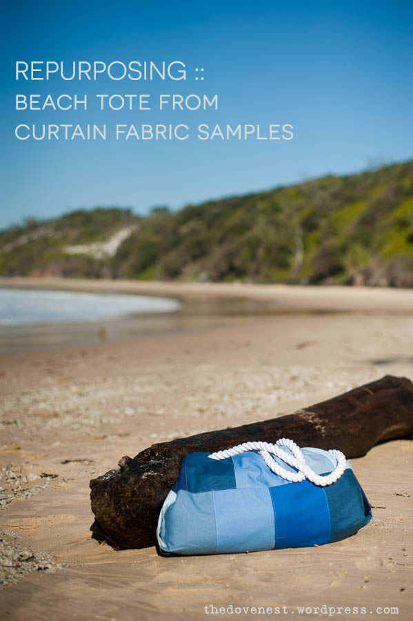 beach tote made from curtain samples