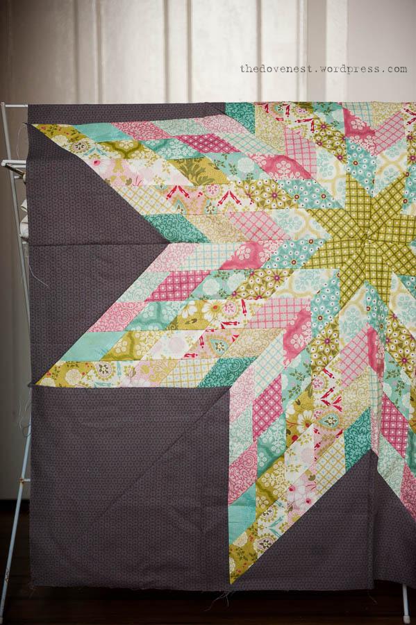 strip pieced lone star quilt top progress